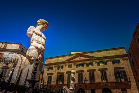 Famous fountain of shame on baroque Piazza Pretoria, Palermo, Sicily, Italy Stock Photo