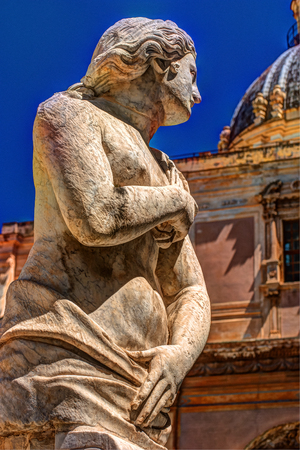 balustrades: Beautiful sculpture of the famous fountain of shame on baroque Piazza Pretoria, Palermo, Sicily, Italy