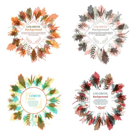 Set of autumnal round frames. Wreaths of autumn leaves. Background with hand drawn autumn leaves. Fall of the leaves. Illustration