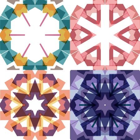 Set of flat ethnic seamless pattern. Colorful geometrical ornament tiles. For different design uses, as wallpaper, pattern fills, web page background, surface textures for print and dalle production.