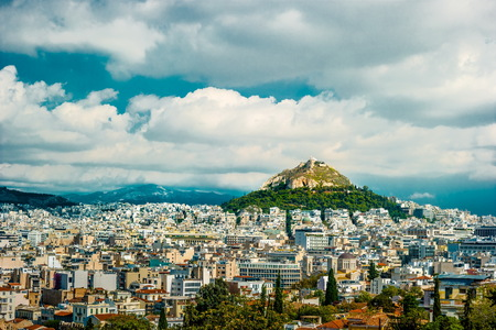 Cityscape of Athens and Lycabettus Hill in the background, Athens, Greece. Stock Photo