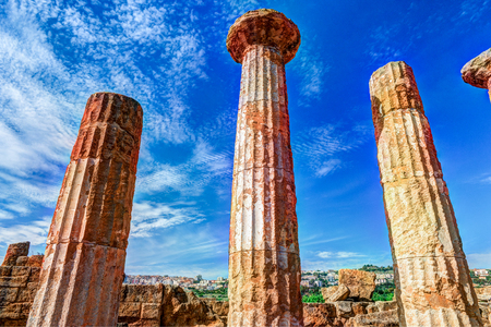 grecian: Heracles Temple, Temple Valley, Agrigento, Sicily Stock Photo
