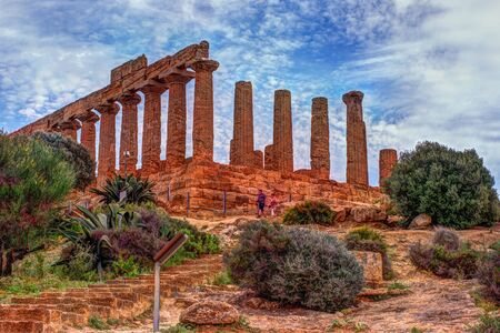 architecture monumental: Temple of Juno - ancient Greek landmark in the Valle dei Templi outside Agrigento, Sicily Stock Photo