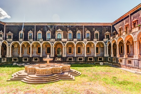 Cloister of the Benedictine Monastery of San Nicolo lArena in Catania, Sicily, Italy, - a jewel of the late Sicilian Baroque style.
