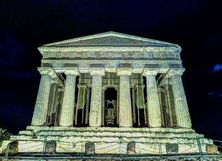 concordia: Antique greek temple of Concordia in the Valley of Temples, Agrigento, Sicily, Italy, at night