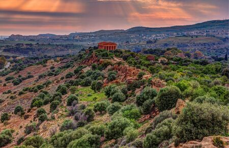The famous Temple of Concordia in the Valley of Temples near Agrigento, Sicily