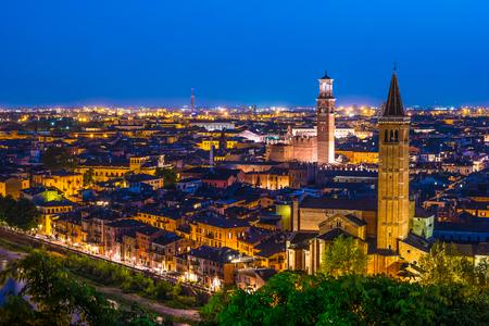 Aerial view of Verona. Italy. Beautiful sunset panorama. Travel photography.
