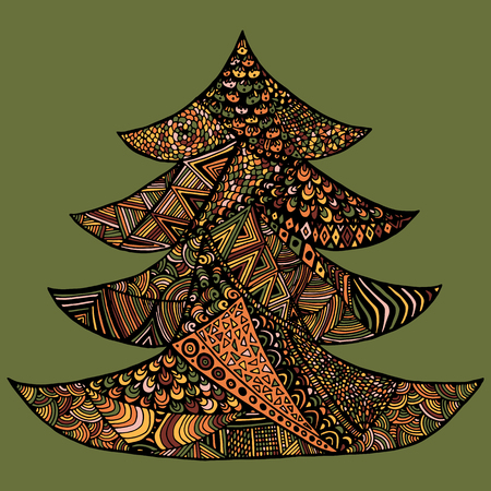 Happy New Year and Merry Christmas card. Colored Christmas tree in zentangle style, isolated on colorful background.. Illustration