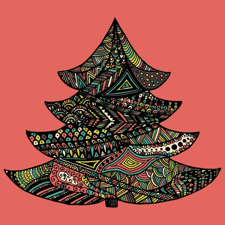 happy new year and merry christmas card colored christmas tree in zentangle style isolated