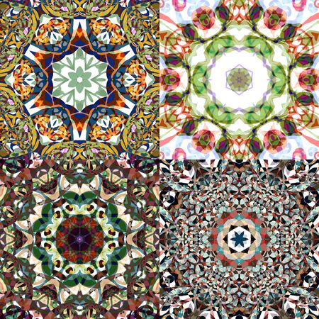 Gorgeous seamless patchwork patterns. Colorful floral ornament tiles. For different design uses, as wallpaper, pattern fills, web page background, surface textures for print and dalle production. Illustration