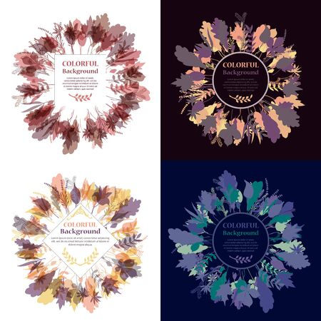 marcos redondos: Set of autumnal round frames. Wreaths of autumn leaves. Background with hand drawn autumn leaves. Fall of the leaves. Sketch, design elements. Vector illustration. Vectores
