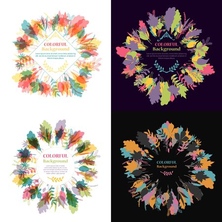 Set of autumnal round frames. Wreaths of autumn leaves. Background with hand drawn autumn leaves. Fall of the leaves. Sketch, design elements. Vector illustration. Illustration