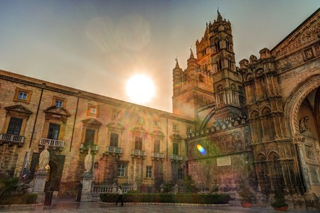 The beautiful cathedral of Palermo, Sicily, in warm sunset light