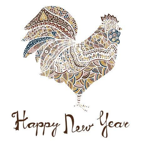 Hand getrokken schets in de vorm van een haan die met meerdere gedetailleerde patronen gekleurd met verschillend kleuren, groeten belettering voor Nieuwjaar en Kerstmis