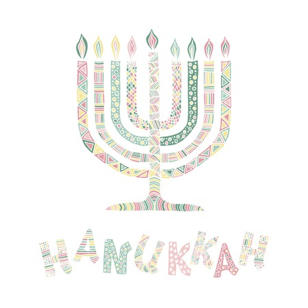Cute Hanukkah greeting card, invitation with hand drawn menorah -candelabra and lettering, vector illustration background
