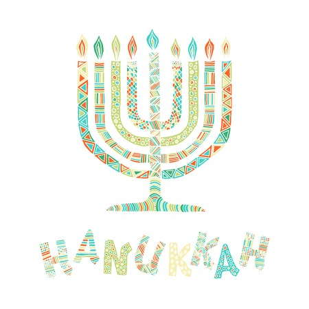 candelabra: Cute Hanukkah greeting card, invitation with hand drawn menorah -candelabra and lettering, vector illustration background