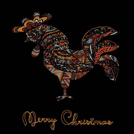 Hand drawn sketch in the shape of a rooster covered with multiple detailed patterns colored with diffrent colors, greetings lettering for New Year and Christmas