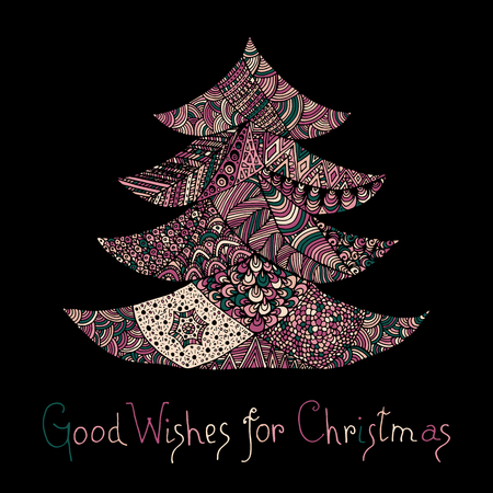 Happy new year and merry christmas card. Colored Christmas tree in zentangle style with lettering