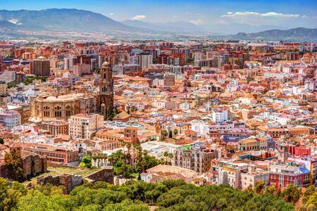 incarnation: Panorama cityscape aerial view of Malaga, Spain. Santa Iglesia Cathedral Basilica of Lady of Incarnation. Stock Photo