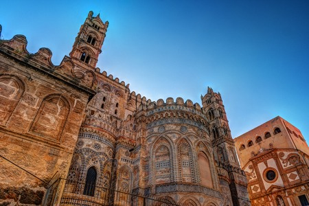 tropica: Backside of the huge cathedral in Palermo, Sicily, Italy Stock Photo