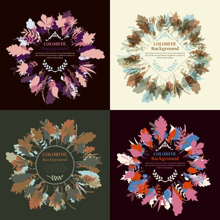 Set of autum round frames. Wreaths of autumn leaves. Background with hand drawn autumn leaves. Fall of the leaves. Sketch, design elements. Vector illustration.