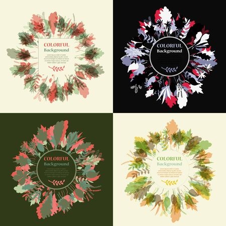 autum: Set of autum round frames. Wreaths of autumn leaves. Background with hand drawn autumn leaves. Fall of the leaves. Sketch, design elements. Vector illustration.