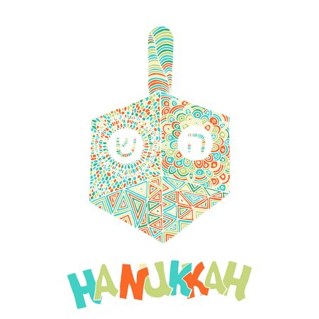 Vector hand drawn greeting card - Happy Hanukkah. Colorful calligraphy isolated on white background with dreidel. Hand lettering illustration. Hanukkah design