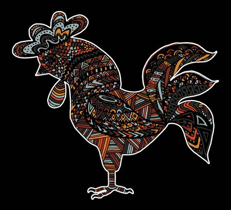 Hand drawn sketch in the shape of a rooster covered with multiple detailed patterns colored with diffrent colors, template for New Years greetings
