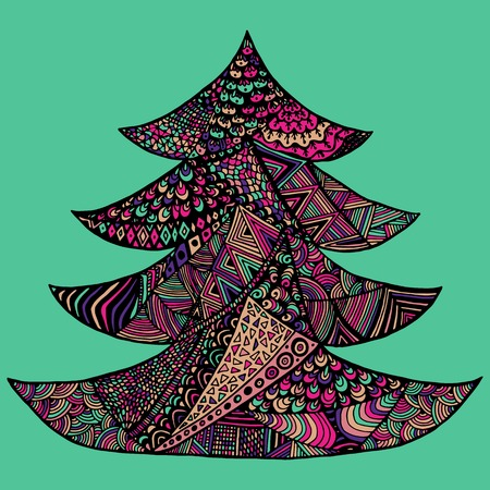 color page: Happy New Year and Merry Christmas card. Colored Christmas tree in zentangle style, isolated on colorful background.. Illustration