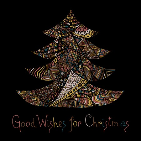 color page: Happy new year and merry christmas card. Colored Christmas tree in zentangle style with lettering