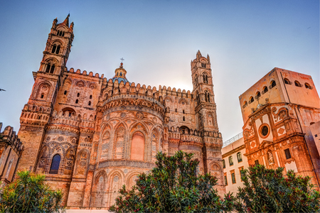 Backside of the huge cathedral in Palermo, Sicily, Italy Stock Photo