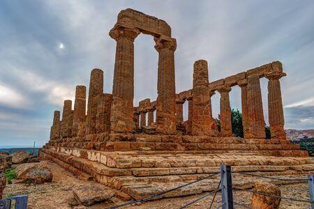 Temple of Juno - ancient Greek landmark in the Valle dei Templi outside Agrigento, Sicily Stock Photo