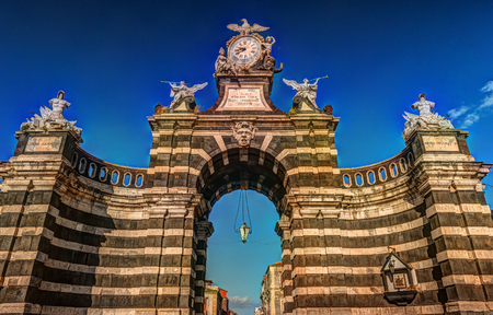 The arch Giuseppe Garibaldi built to honor the Spanish King Ferdinand I, Catania, Sicily. Triumphal arch built in 1768 - famous landmark of the city.