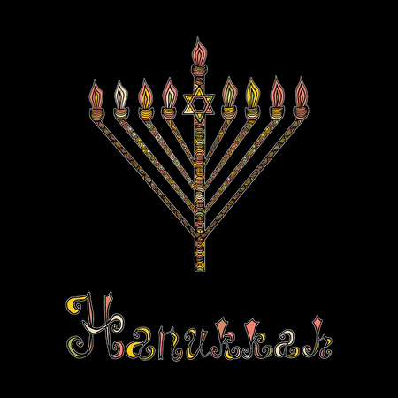 candleholder: Cute Hanukkah greeting card, invitation with hand drawn menorah -candelabra and lettering, vector illustration background