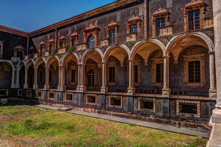 Cloister of the Benedictine Monastery of San Nicolo lArena in Catania, Stock Photo