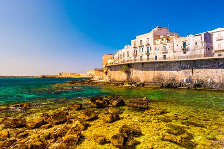 ortigia: Coast of Ortigia island at city of Syracuse