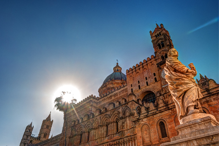 Palermo Cathedral church, Sicily, Italy 免版税图像