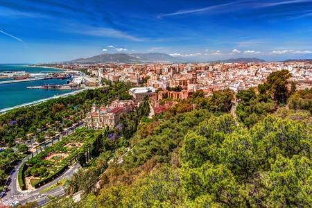 Aerial view of Malaga taken from Gibralfaro castle Stock Photo