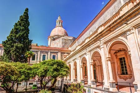 benedictine: Cloister of the Benedictine Monastery of San Nicolo lArena in Catania, Stock Photo