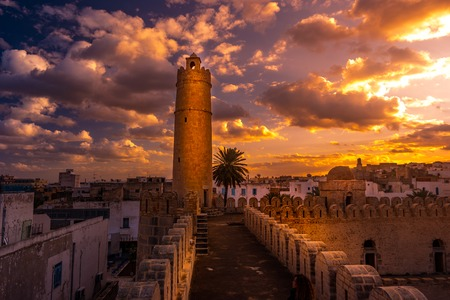 bastion: View from the walls of the fortress of Ribat of Sousse in Tunisia.