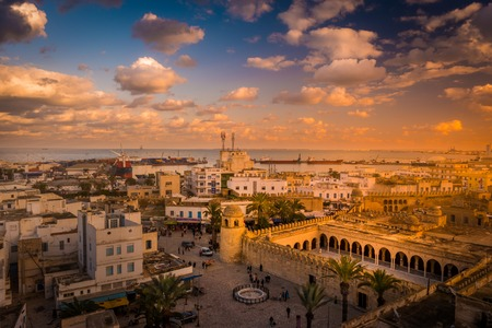 Beautiful sunset in Sousse, Tunisia.