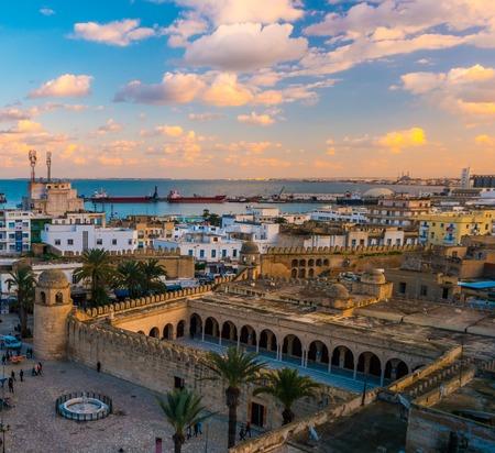 Beautiful sunset in Sousse, Tunisia. Reklamní fotografie