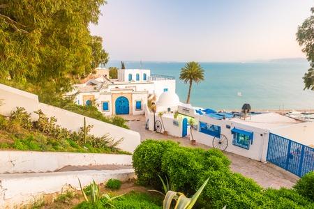 Sidi Bou Said, famouse dorp met traditionele Tunesische architectuur. Stockfoto