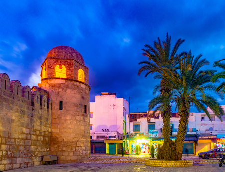 Night photo of Mosque in Sousse.