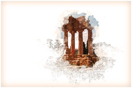 Agrigento, Sicily. Temple of Castor and Pollux Stock Photo