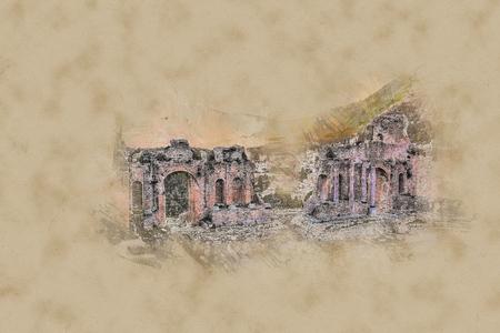 pano: The Ruins of Taormina Theater at Sunset.