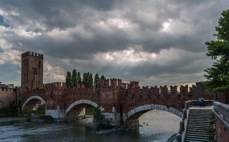 ponte: Medieval stone bridge Ponte Scaligero Stock Photo