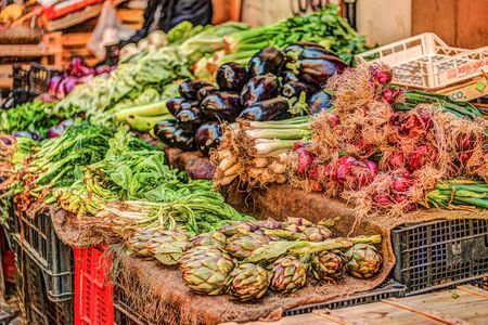 Fresh vegetables at a market in Palermo