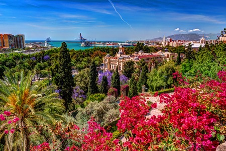 Aerial view of Malaga taken from Gibralfaro castle Stock Photo