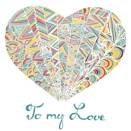 Hand drawn heart with colorful pattern Illustration